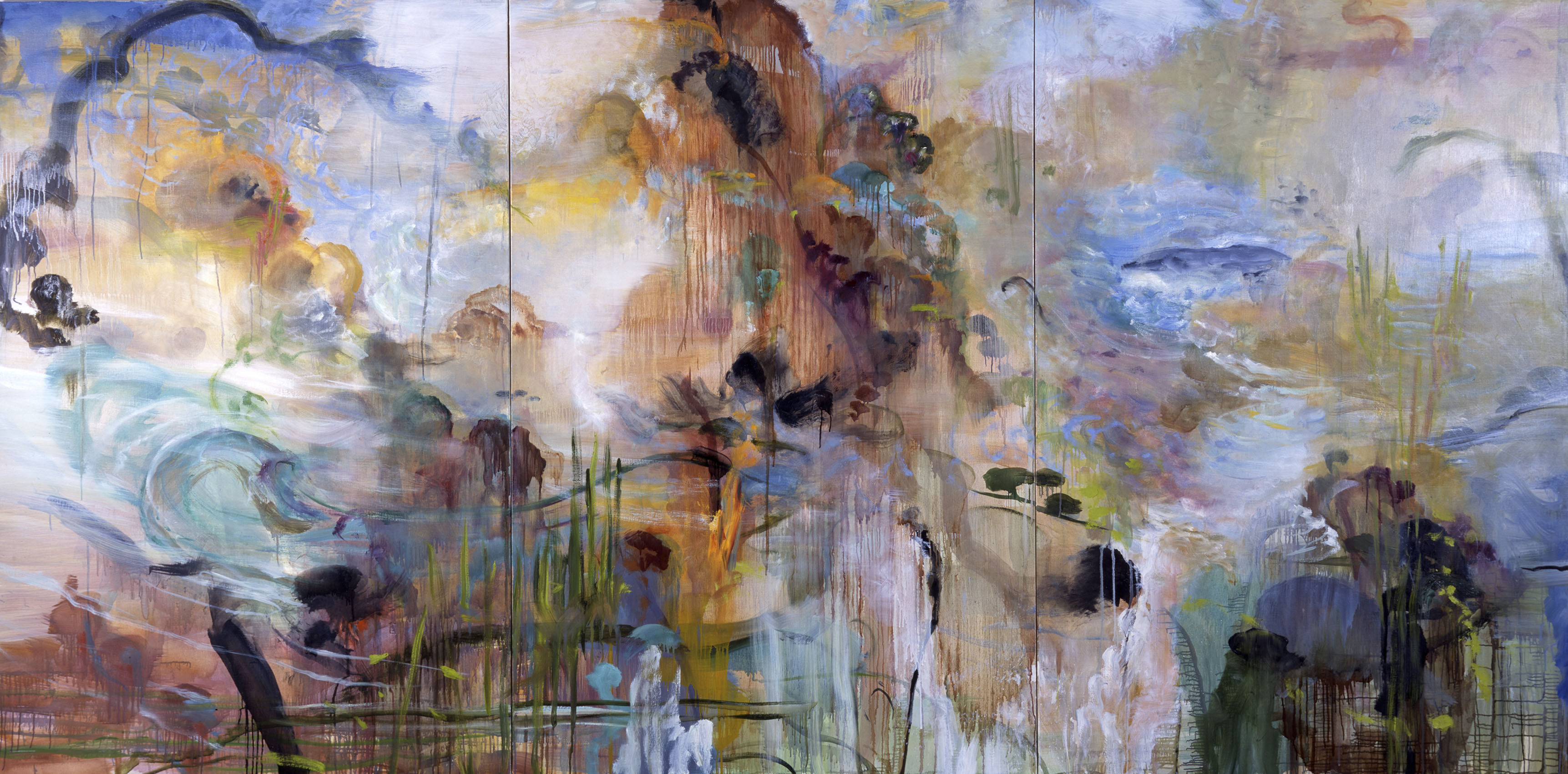 Wandering Breeze, 2001, oil on canvas, triptych 6x12 feet