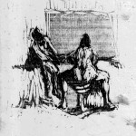Two Seated Women, 1956-57, Wood releif (variant inking), image size 9 1/4 x 7 5/8 inches