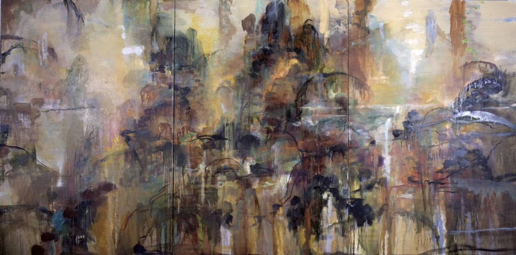Fall Mountains for Kuo-Hsi; oil on canvas, 2001; 72 x 144 triptych