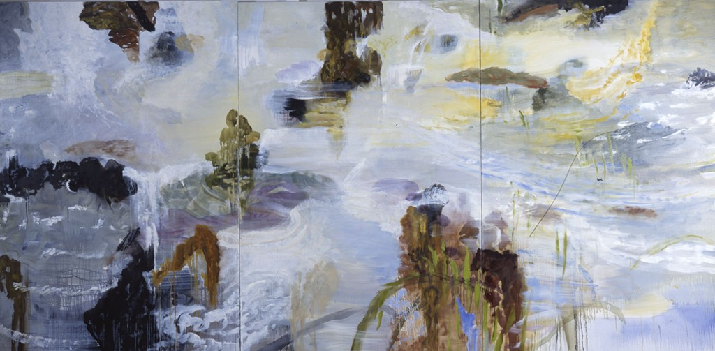 Rocks in Air and Water; oil on canvas, triptych, 2002, 72x44 inches