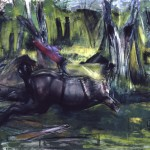 """Headless Horse and Rider, circa 1980's, acrylic, charcoal, pastel, 42x64 inches"
