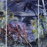 Study For Wakeby Night, 1985, monotype with pastel and acrylic, triptych 71x43 total size
