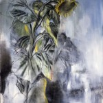 """Untitled (Sunflower), 1980's, monotype with pastel, size unknown"