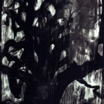 Texas Tree, 1988, monoprint with transfer wood relief and metal plate offset, 35 x 31.1/2 inches