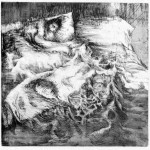 Sleeper, 1959, etching and aquatint with softground, edition size 10, image size 17 1/2/ x 17 3/4 inches